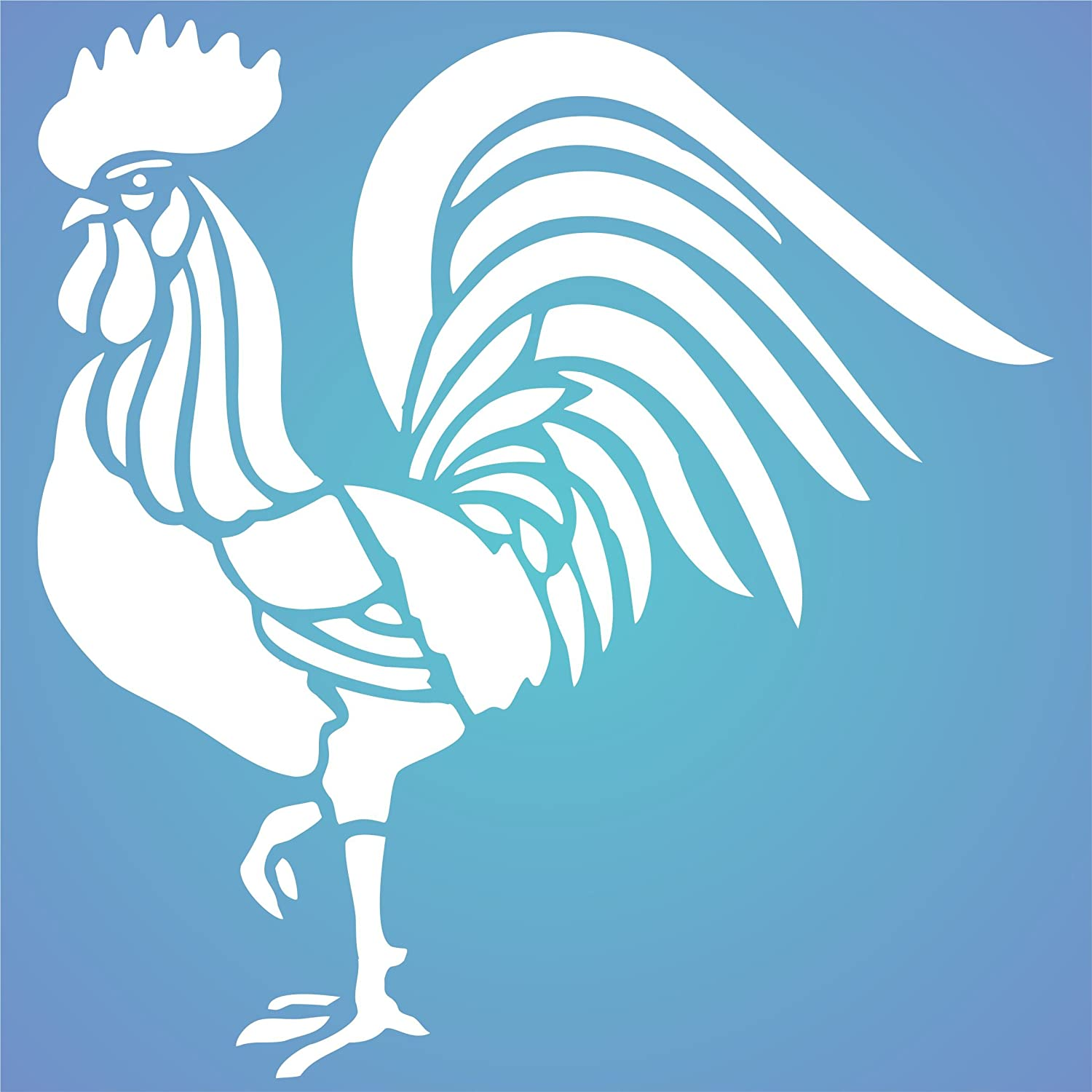 Amazon.com: Rooster Stencil - 8 x 8.5 inch - Reusable Chinese Year ...