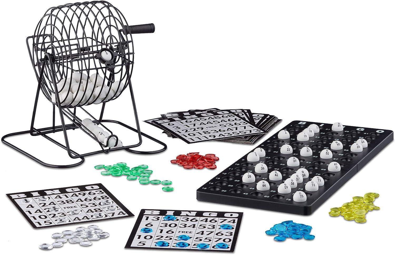 Relaxdays Bingo con Bombo, Juego Mesa, 1 Set, Bolas, Fichas, Tableros, Plástico-Metal-Cartón, Negro, Color (10021014)