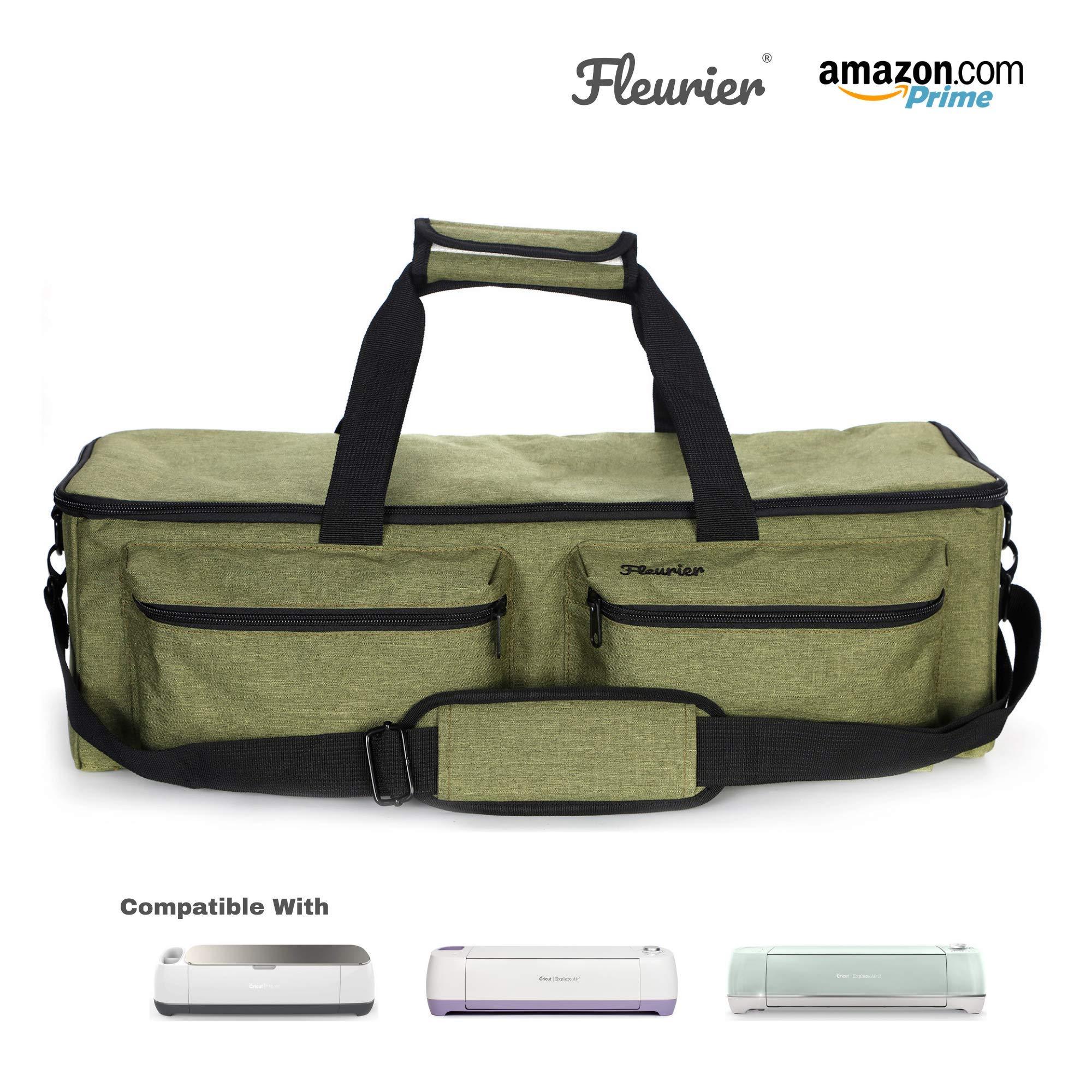 Fleurier Carrying Bag Tote Travel Bag Accessories Storage Bag Carrying Case for Cricut Explore Air and Maker Cricut Explore Air 2, Silhouette Cameo 3, Cricut Maker (Green)