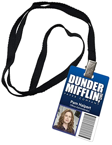pam halpert dunder mifflin inc novelty id badge the office prop costume