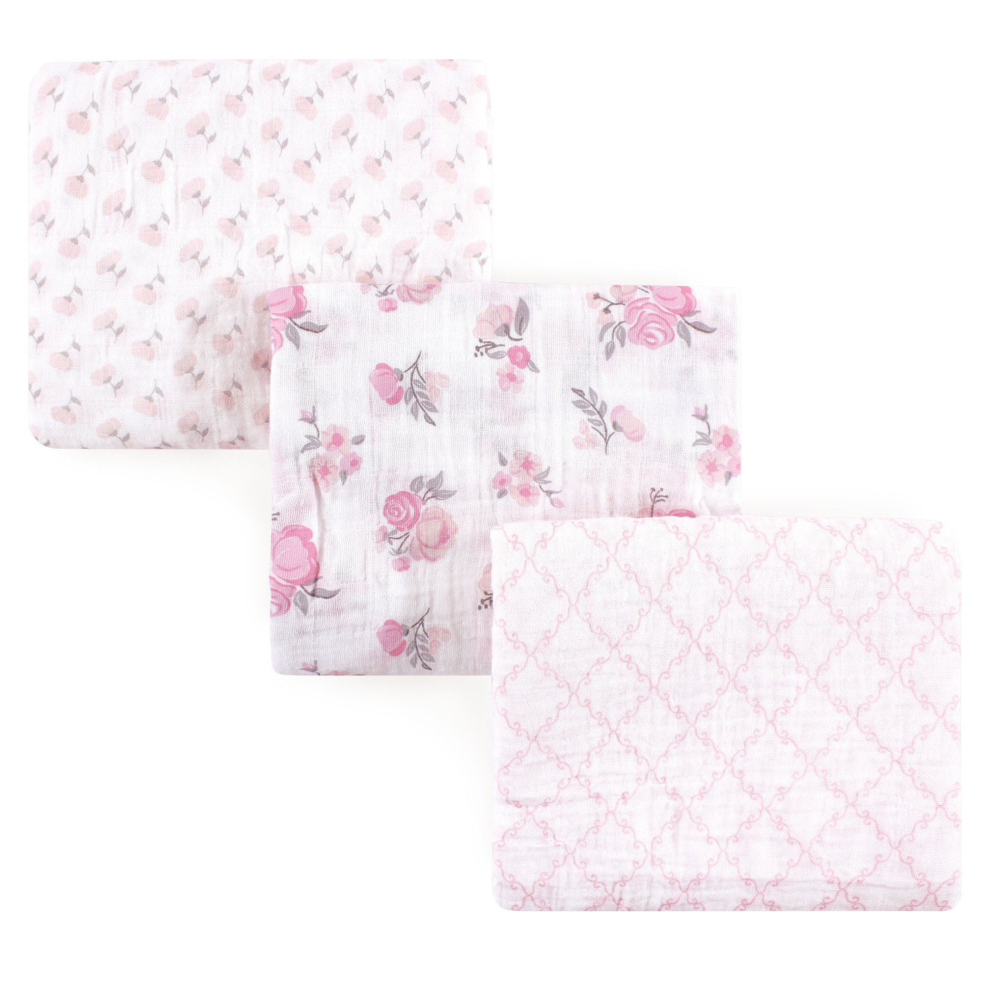 Hudson Baby Muslin Swaddle Blankets, 3 Pack, Pastel Floral