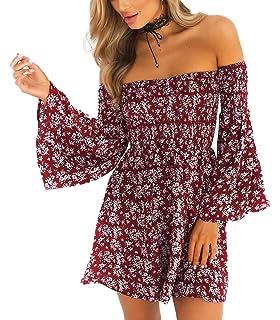 f6bf796a3f13 NANFANGLI Women Summer Dress Off Shoulder Fit Comfy Floral Casual Dresses