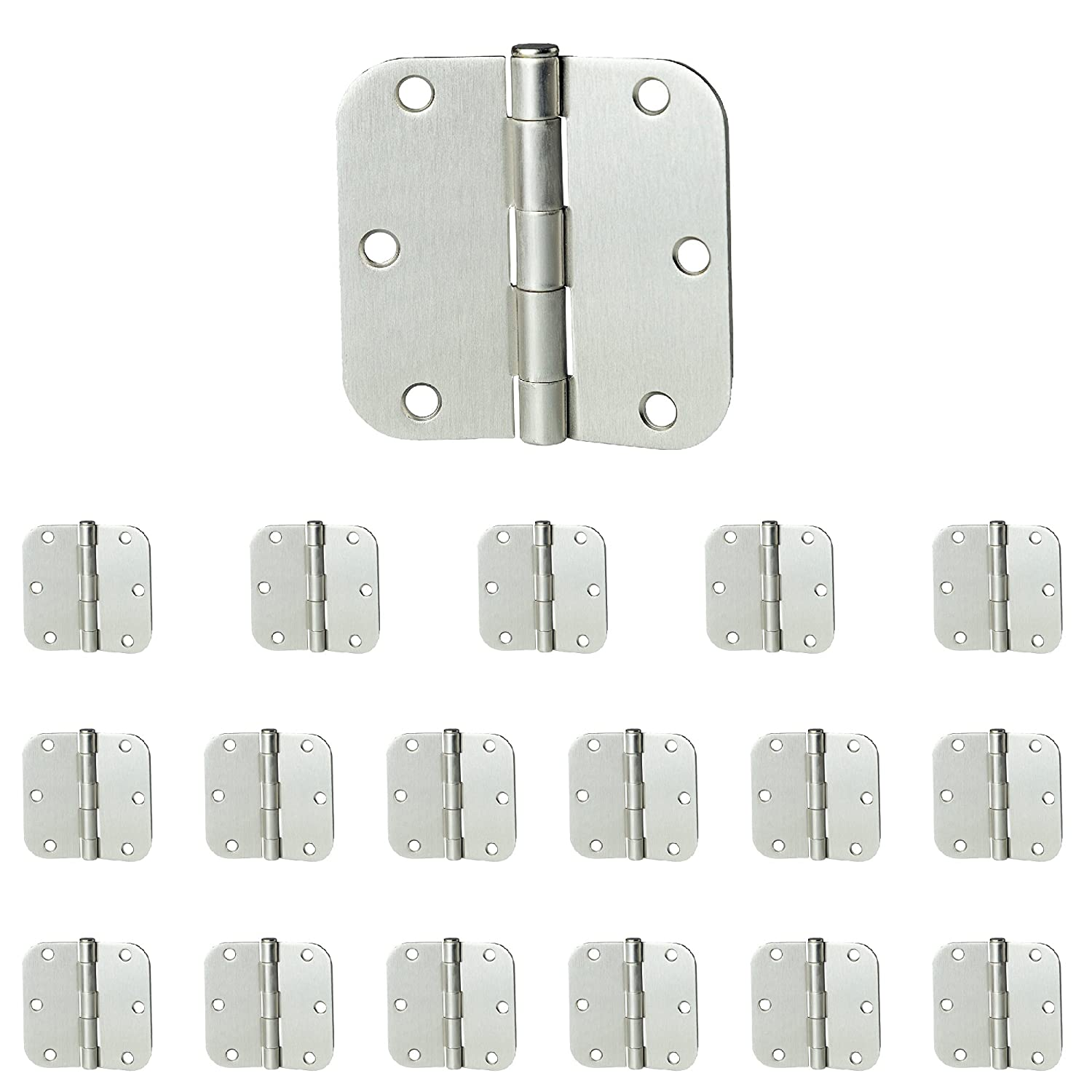 "18 Pack of Door Hinges Satin Nickel - 3.5"" x 3.5"" Inch Interior Hinges for Doors Brushed Nickel with 5/8"" Radius Corners"