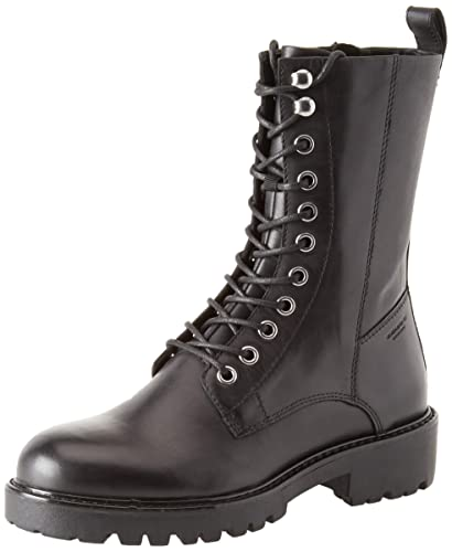 1019286700 Vagabond Womens Kenova Leather Black Winter Military Combat Calf Boot -  Black - 8.5