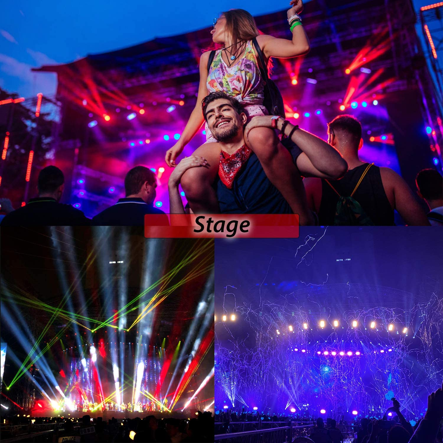 BSYUN Stage Lights Sound Activated RGBW LED DJ Lights Mixed Beam Lights Effects with Remote Control DMX 512 Controllable Party Lights for Wedding Birthday Dance Party