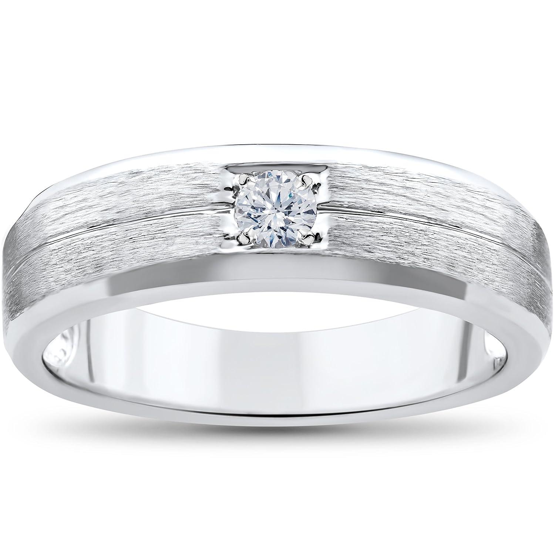 Mens White Gold Solitaire Brushed Diamond Wedding Ring Amazon