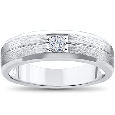 mens white gold solitaire brushed diamond wedding ring - Mens White Gold Wedding Ring