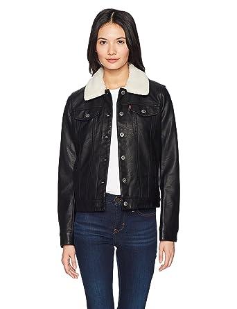 Levi's Women's Classic Faux Leather Sherpa Collar Trucker Jacket ...