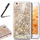 5S Case,iPhone 5 Case,iPhone SE Case,SKYMARS 3D Creative Flowing Liquid Floating Luxury Bling Glitter Sparkle Hard Case Cover for iPhone 5 / 5S / SE Diamonds Golden