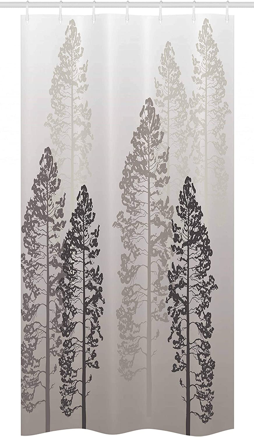 "Ambesonne Country Stall Shower Curtain, Pine Trees in The Forest on Foggy Seem Ombre Backdrop Wildlife Adventure Artwork, Fabric Bathroom Decor Set with Hooks, 36"" X 72"", Warm Taupe"