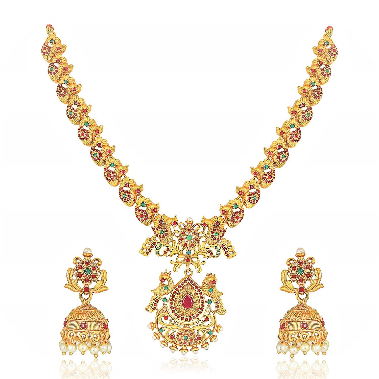 Buy Meenaz Temple Jewellery South Indian Red Green Matte Gold
