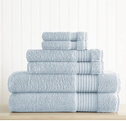 6 Piece Light Blue Solid Color Towel Set With 30 X 54 Inches Bath Towels