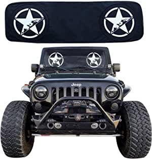 RoRex Jeep Wrangler Accessories JK,TJ,LJ,YJ Windshield Sunshade, fits Every Year Wrangler 1985-2018 Custom fit, Heat Shield Sun mat