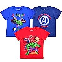 Marvel 3 Pack Boy's Avengers Short Sleeve Superhero Tee Shirt Set