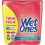 Wet Ones Antibacterial Hand Wipes, Fresh Scent, 40 Count Canister (Pack of 2), Packaging May Vary