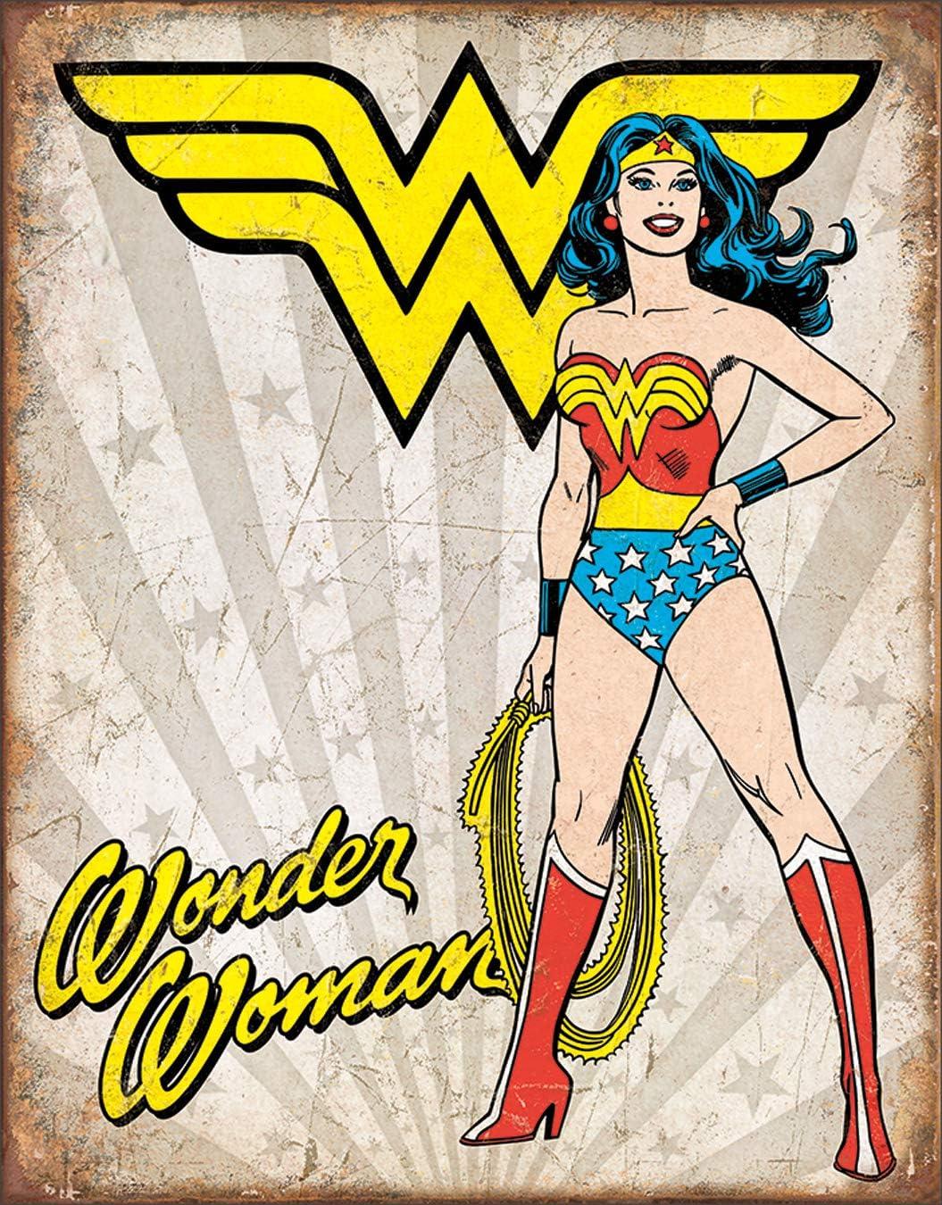 "Desperate Enterprises Wonder Woman Heroic Tin Sign, 12.5"" W x 16"" H"