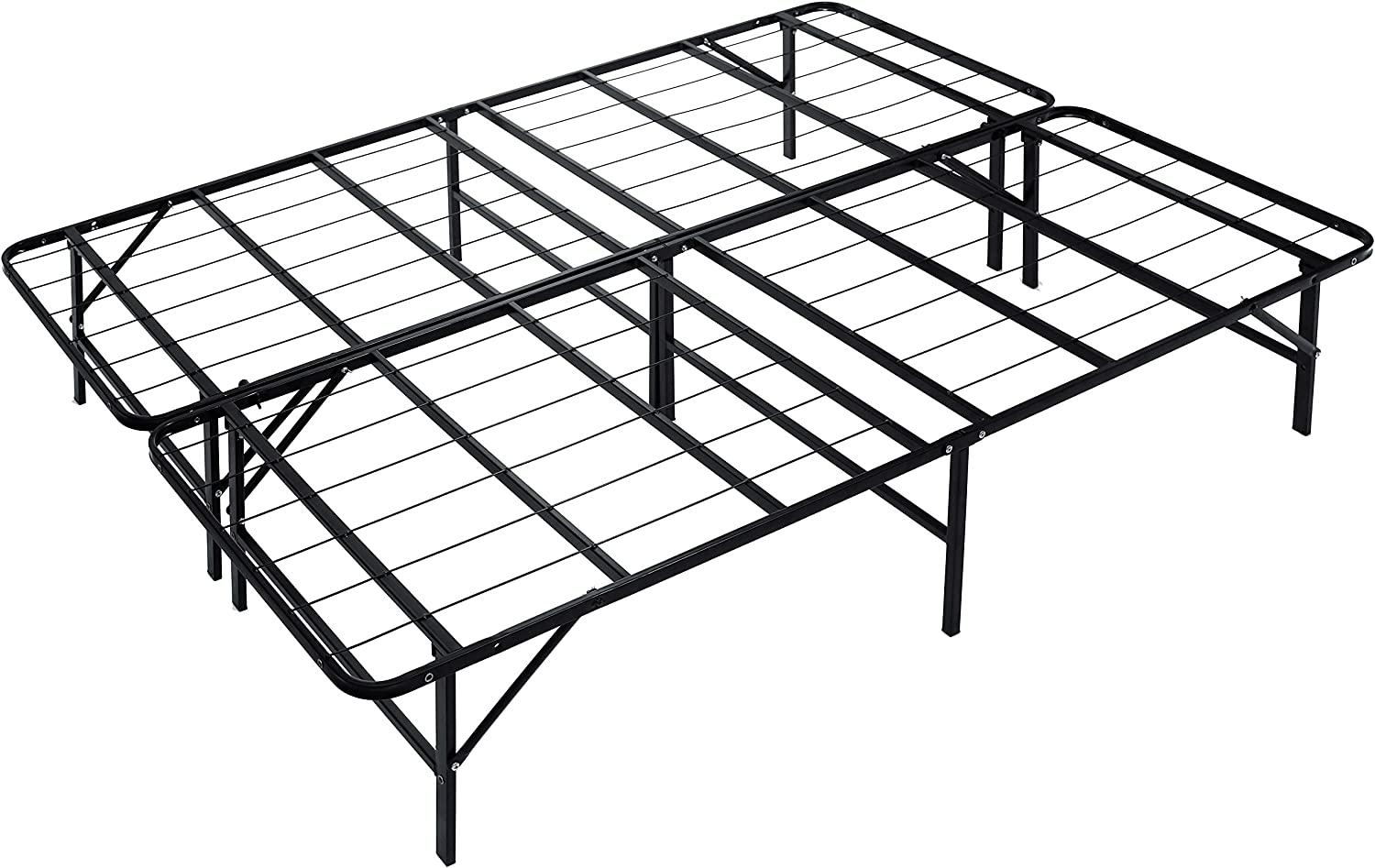 Naomi Home idealBase 14 Platform Metal Bed Frame – Mattress Foundation Box Spring Replacement King Black