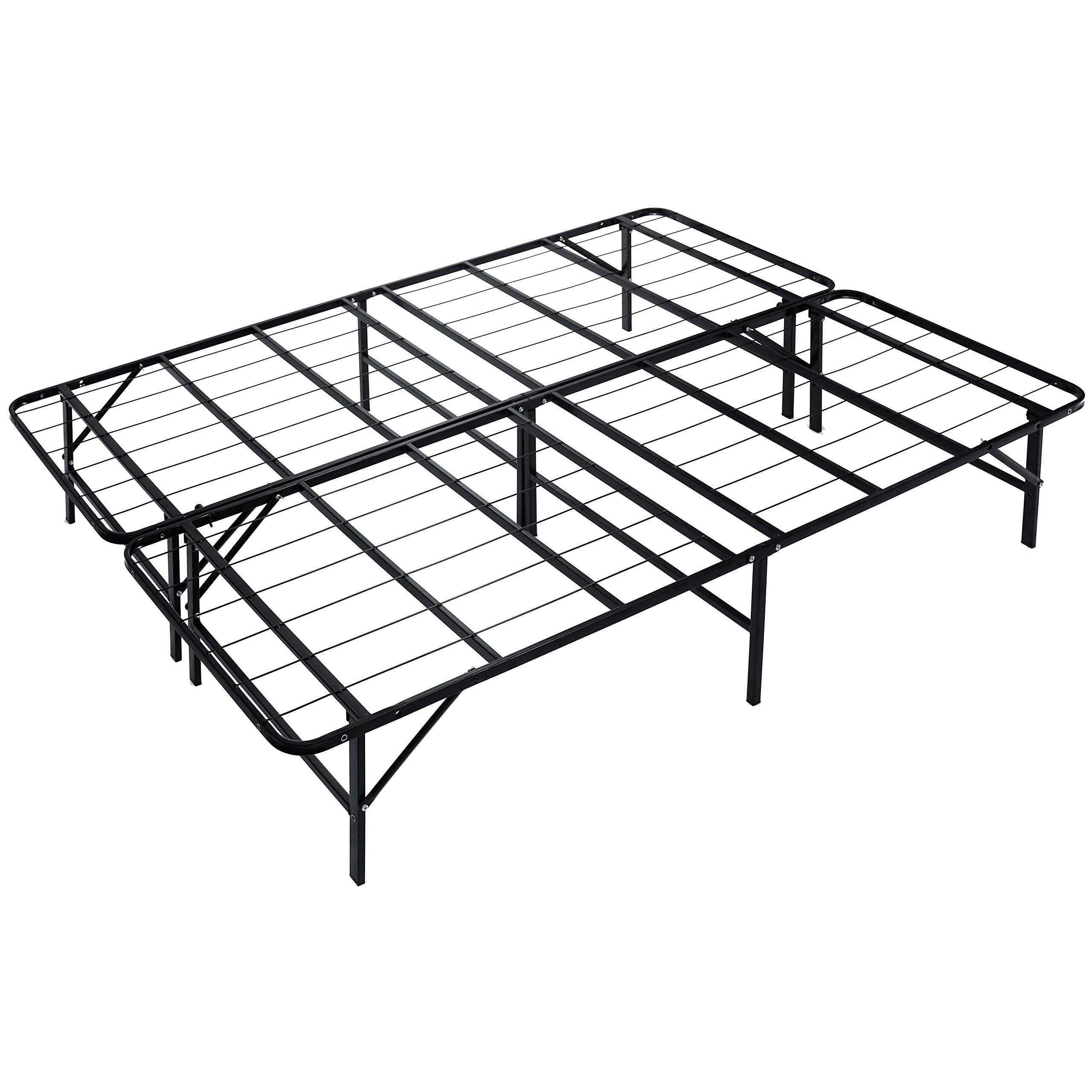 Naomi Home idealBase 14'' Platform Metal Bed Frame - Mattress Foundation - Box Spring Replacement Queen/Black