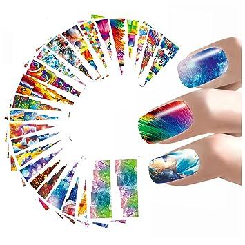 Amazon Com Desirca 24style Abstract Nail Art Sticker Colorful