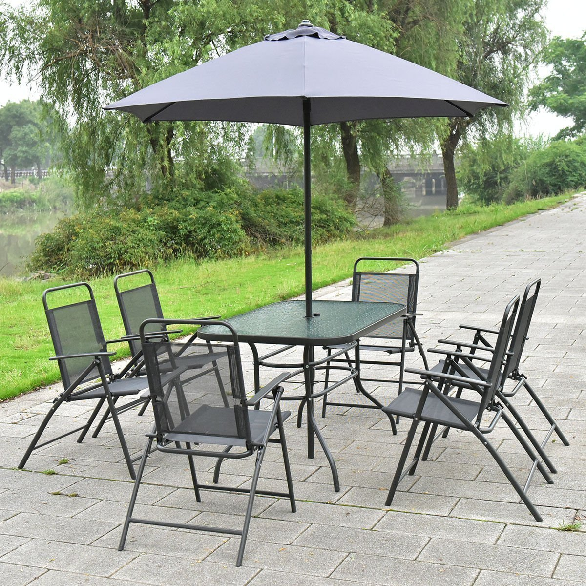 amazoncom giantex 8pcs patio garden set furniture 6 folding chairs table with umbrella gray new garden outdoor - Garden Furniture 6 Seats