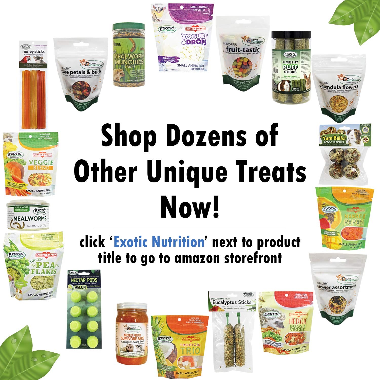 Exotic Nutrition Herbivore Treat Variety Pack - for Guinea Pigs, Rabbits, Chinchillas, Squirrels, Hamsters, Prairie Dogs, Degus