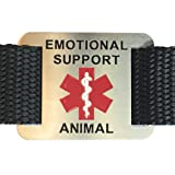 Leashboss Emotional Support Animal ESA Dog ID Tag - Stainless Steel - Attaches to Nylon Collar or Harness