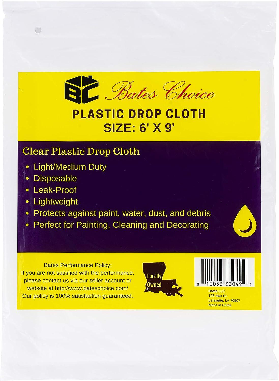 Bates- Plastic Drop Cloth, 2 Pack, 6x9 Feet, Plastic Cover, Clear Plastic Tarp, Plastic Tarp for Painting, Plastic Sheeting for Painting, Plastic Drop Cloths for Painting, Paint Plastic Drop Cloth
