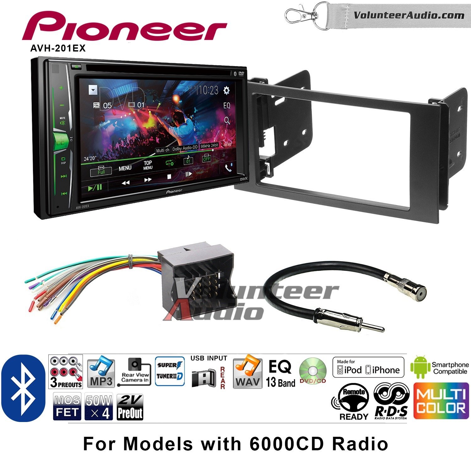 Volunteer Audio Pioneer AVH-201EX Double Din Radio Install Kit with CD Player Bluetooth USB/AUX Fits 2010-2011 Transit Connect by Volunteer Audio (Image #1)