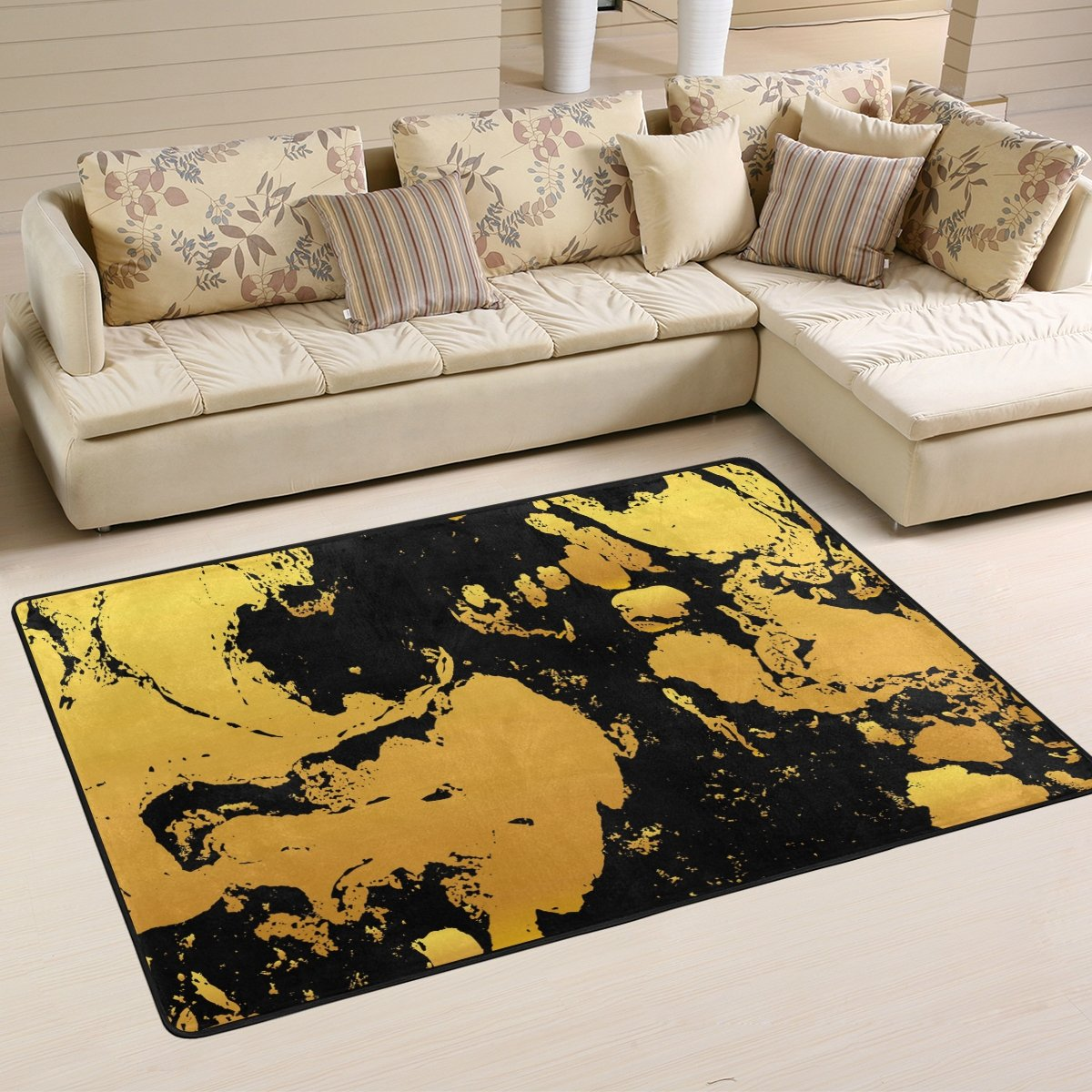 SAVSV 3' x 2' Area Rug Carpet Doormat Lightweight Printed Gold And Black Ink Pattern Easy to Clean For Living Room Bedroom