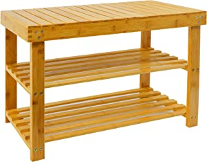 Bamboo Storage Bench, 3-Tier Shoe Rack Bench with Storage Shelf, Durable Entry Bench, Bathroom Bench, Living Room/Entryway Organizer