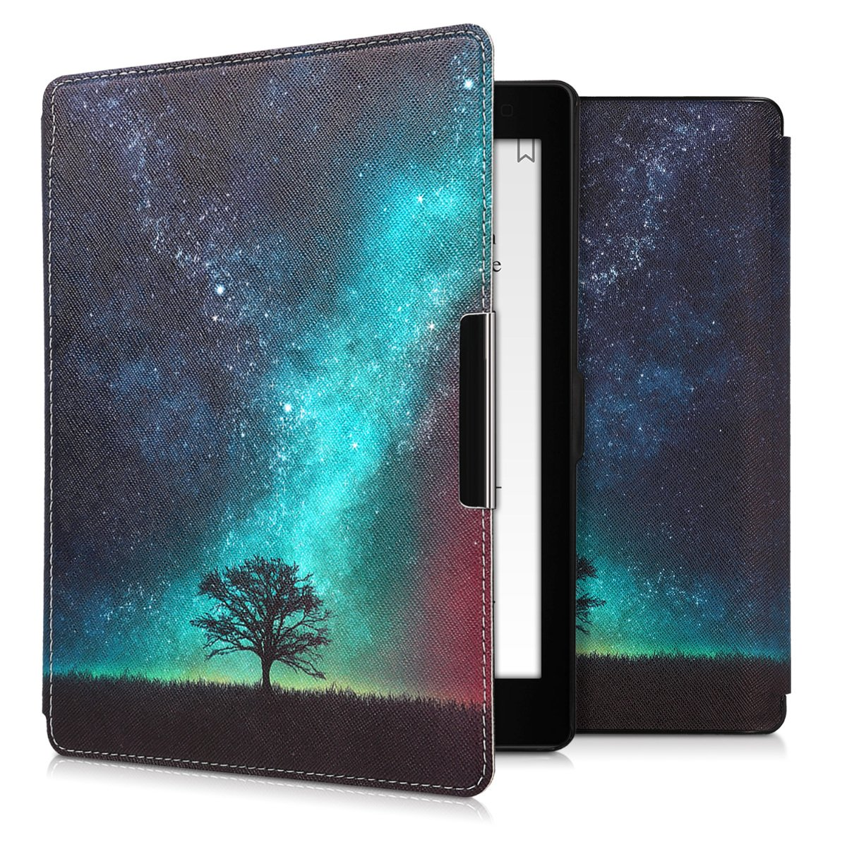 kwmobile Case for Kobo Aura ONE - Book Style PU Leather Protective e-Reader Cover Folio Case - blue grey black