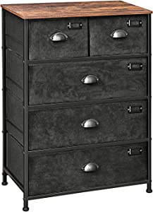 SONGMICS Fabric Drawer Dresser, Storage Dresser Tower with 5 Drawers, Labels, Wooden Top, Industrial Style Closet Storage, for Living Room, Hallway, Nursery, Rustic Brown and Black ULVT45H