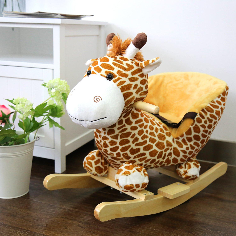 Kinbor Baby Kids Toy Plush Rocking Horse Little Giraffe Theme Style Riding Rocker with Sound, Seat Belts