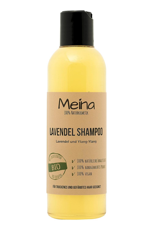 Shampoing naturel Meina Naturkosmetik avec lavande et ylang-ylang - 220 ml - Produit bio et vegan avec huile d'amande bio et huile de coco bio - Sans silicone, sulfate ni paraben - Pour homme et femme