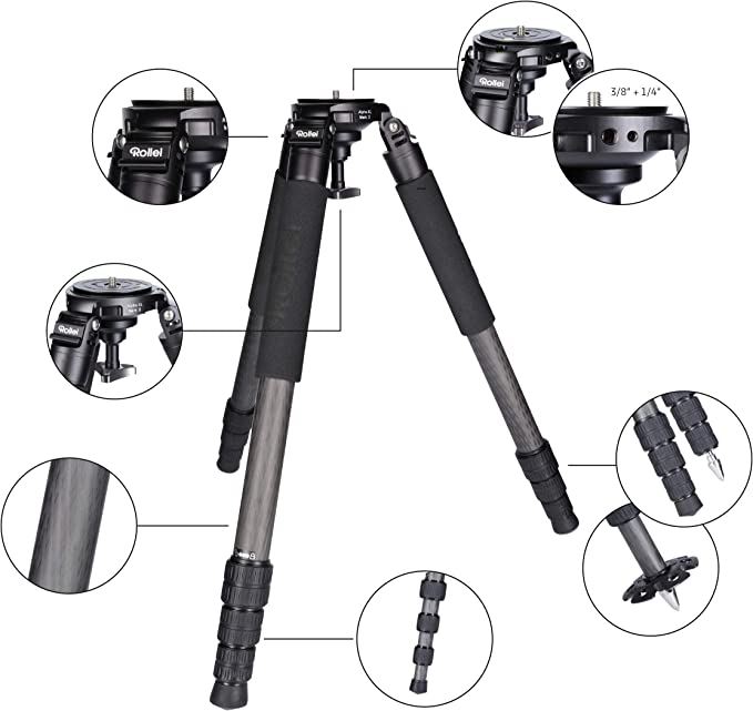 Rollei Rock Solid T7s Carbon Tripod Camera Tripod With Camera Photo