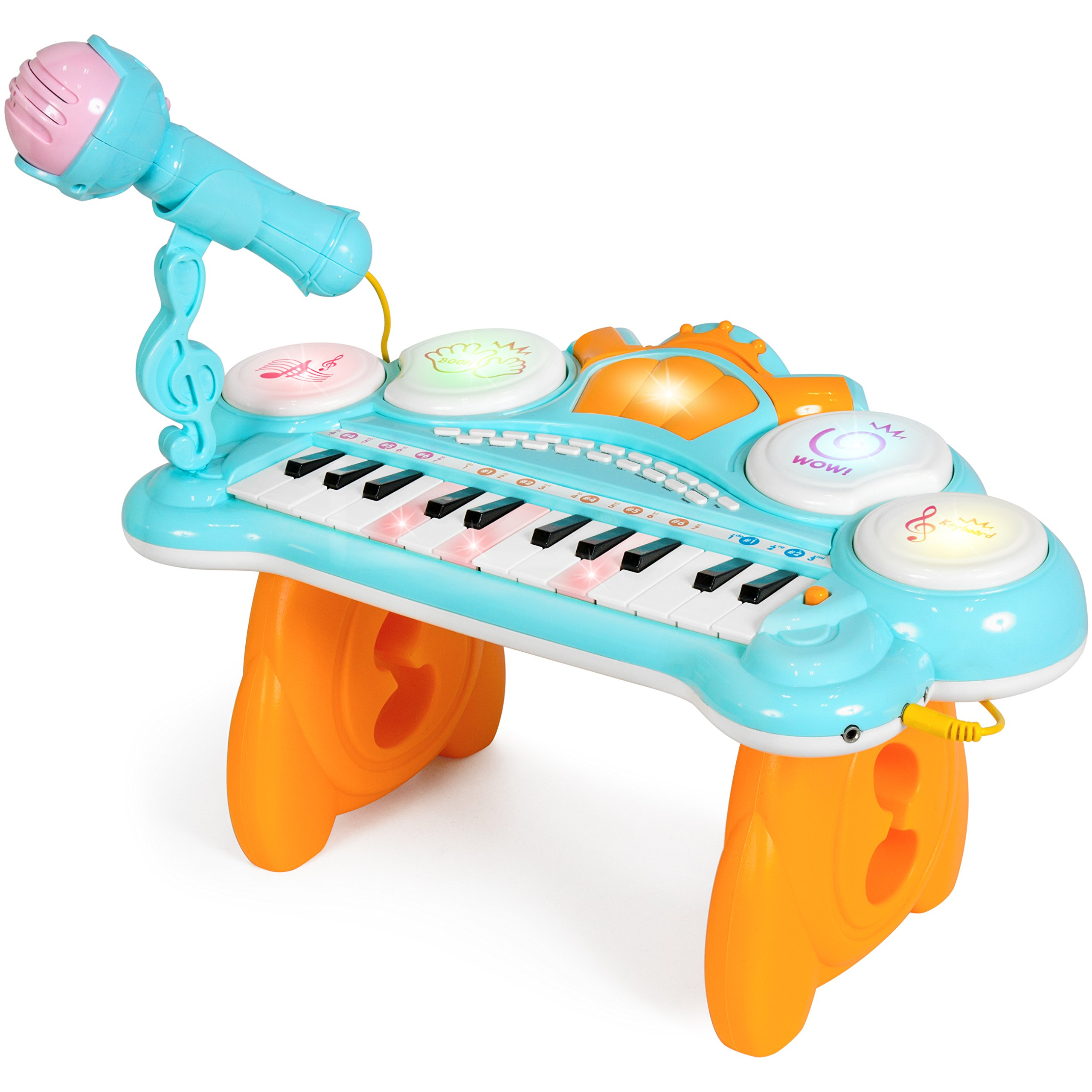 Best Choice Products 24-Key Kids Toddler Educational Learning Musical Electronic Keyboard w/ Lights, Drums, Microphone, MP3, Demo Songs, Teaching Mode - Blue