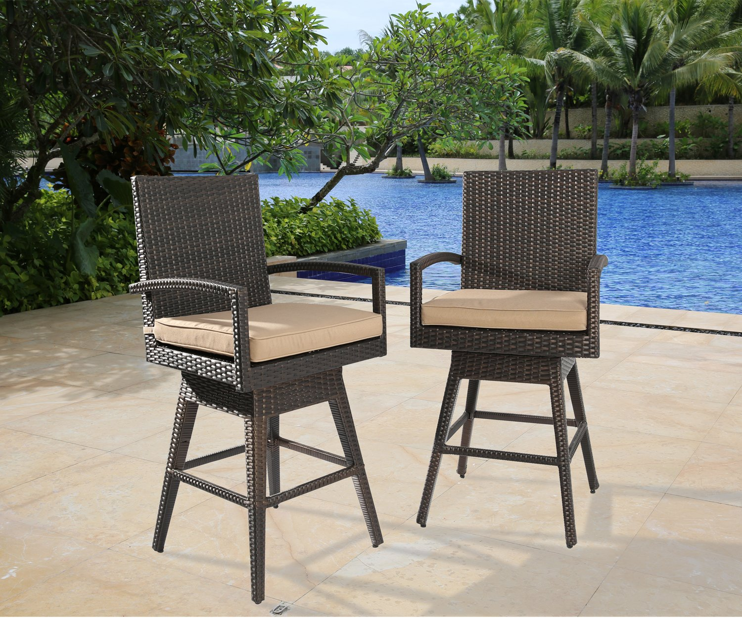 Ulax furniture 2Pack Outdoor Patio Furniture All-Weather Brown Wicker Swivel Bar Stool with Cushion