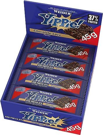 Weider Yippie Bar. Barrita de Proteína 36%. Bajo contenido en Carbohidratos y Azúcares. Sabor Chocolate Lava (12x45 g)