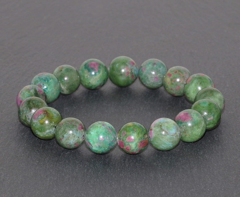 Pulsera de Zoisita con Rubí de 11 mm variedad Anyolita de Grado AAA hecho a mano pulsera de cuentas de piedras preciosas naturales verdes y rojas brazalete de Zoisita con Rubíes