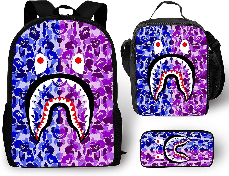 EELMOOR Bape Shark Teeth Face Camo Gray Yellow Backpack School Bag Travel Daypack 3 Sets for Boys/Girls