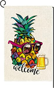 Molili Small Welcome Colorful Pineapple Garden Flag Burlap Vertical Double Sided,Summer Spring Pineapple with Glasses and Beer Yard Outdoor Decoration,Seasonal Outdoor Flag 12.5 x 18inch