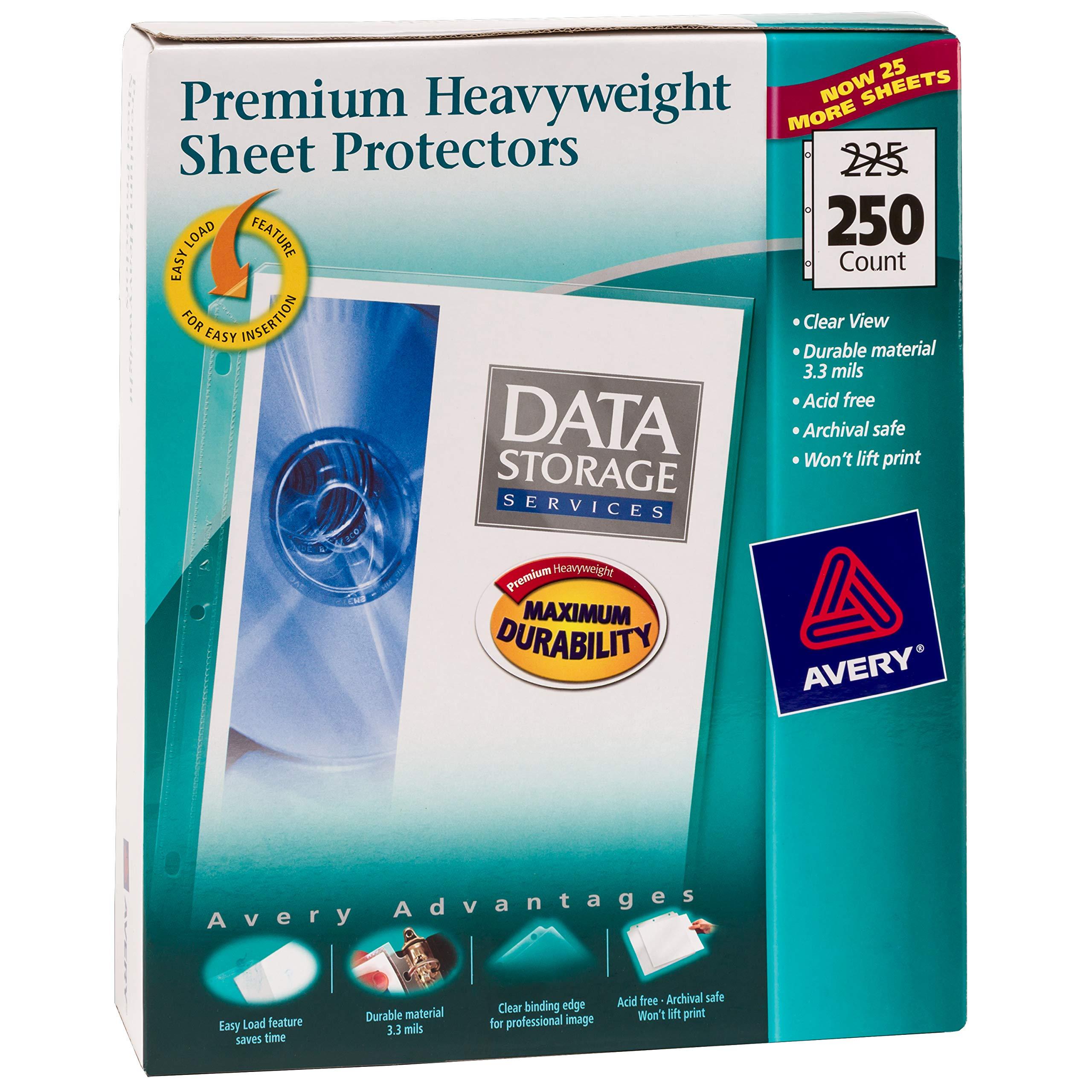 Avery Premium Heavyweight Diamond Clear Sheet Protectors, 8.5'' x 11'', Acid-Free, Easy Load, 250ct (76006) by AVERY