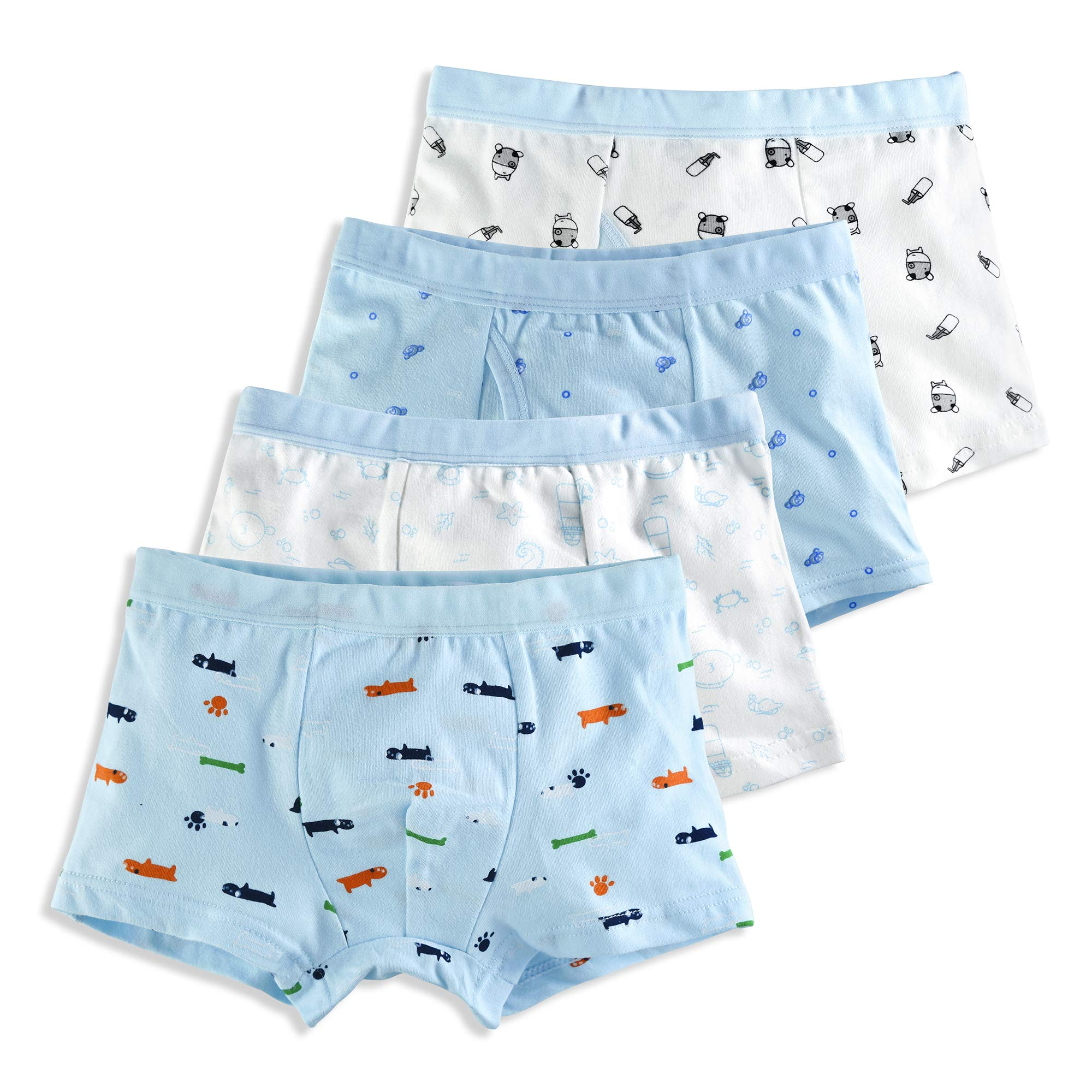 slaixiu Soft Cotton Kids Underwear Cartoon Boys Boxer Briefs 4-Pack (UW75-No.7-120)