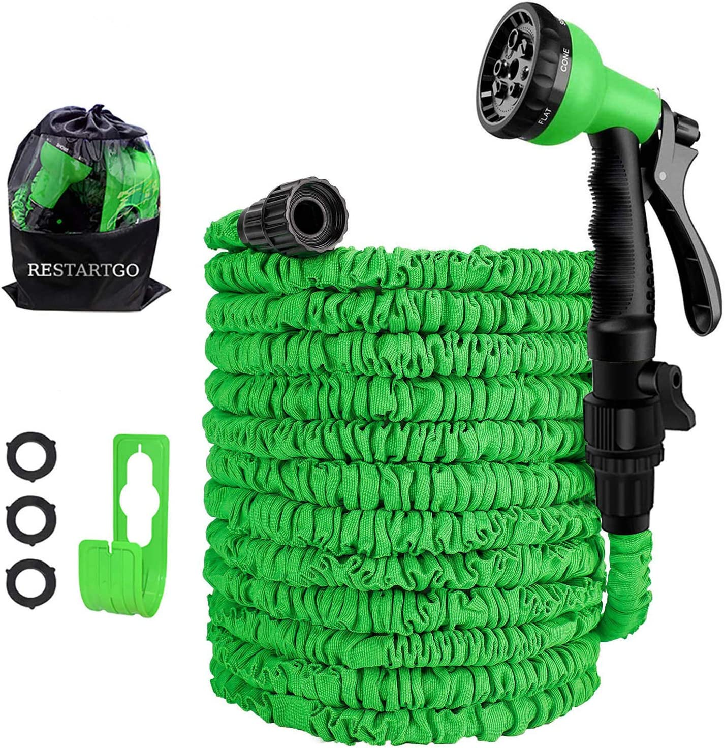 "100FT Garden Hose Reel Expandable 3 Times TPE Super-Strength High Pressure Flexible Water Hose,8-Function High-Pressure Spray Nozzle with 3/4"" Solid Fittings Comes with Free Hose Holder"