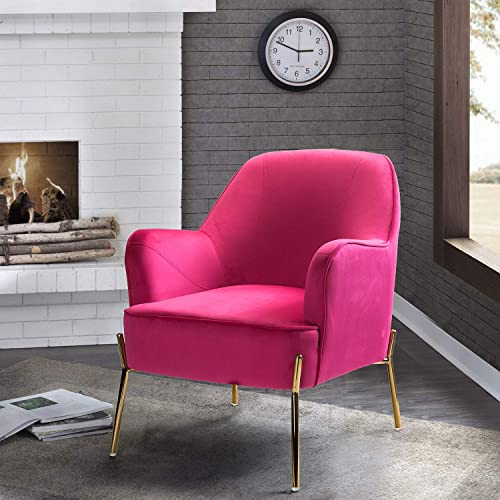 Nora Velvet Accent Chair with Glam Metal Legs – Fushia