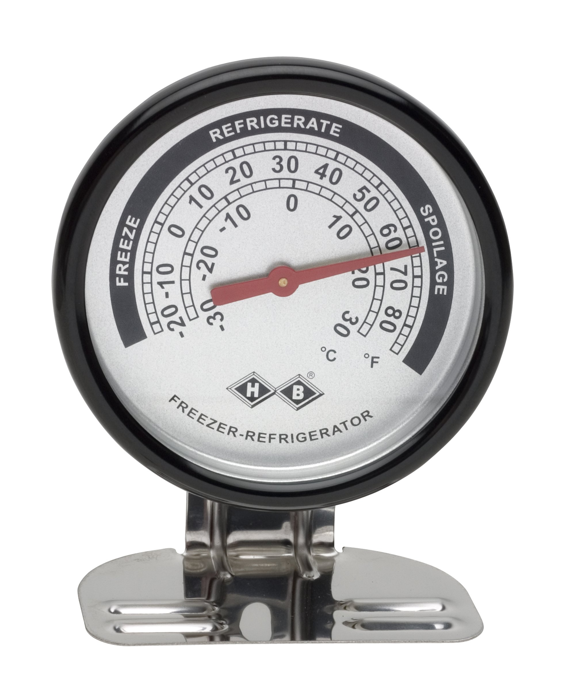 H-B DURAC Bi-Metallic Refrigerator/Freezer Thermometer; -30 to 30C (-20 to 80F); Stainless Steel Case (B61320-2100)