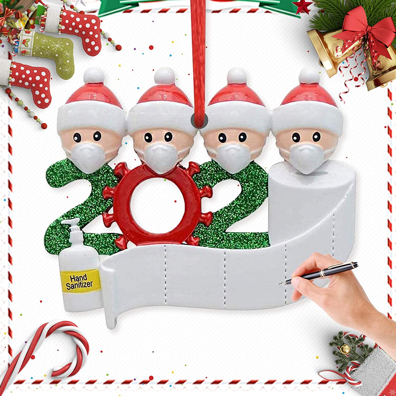 Lamantt Personalized Name Christmas Ornament Kit, Remember Family Ornament Christmas Decorating Set Creative Gift (Family of 4)
