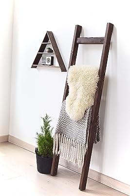 5 ft Wooden Decorative Modern Farmhouse Blanket Ladder | Dark Walnut