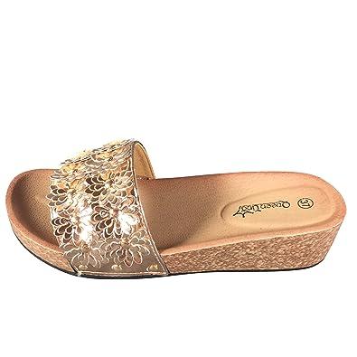 Damen Sandalen Pantoletten Keilabsatz Blumen Sandaletten Wedge Plateau  ST555 (36, PG110 Champagner) 93614df375