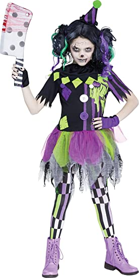Fun World Zombie Clown Costume, Medium 8 10, Multicolor